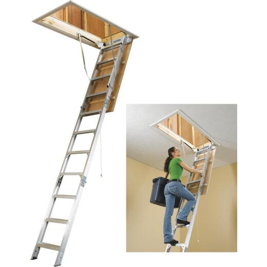 Werner Universal 8 Ft. to 10 Ft. 22-1/2 In. x 54 In. Aluminum Attic Stairs, 375 Lb. Load