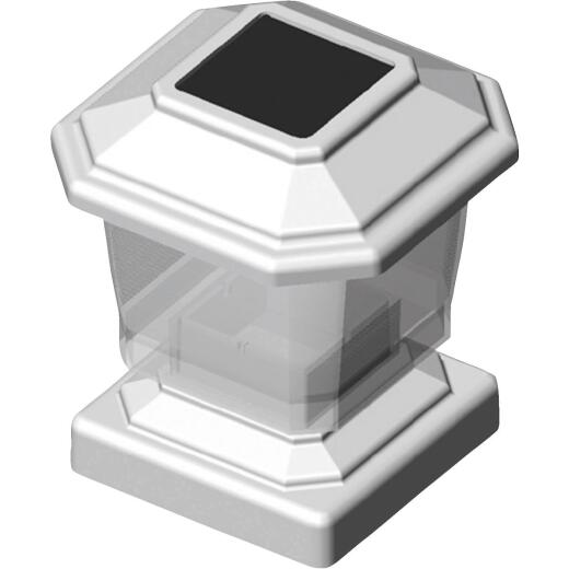 Deckorators 4 In. x 4 In. White Rechargeable Solar Light