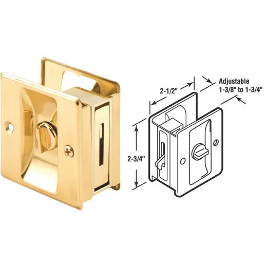 Prime-Line Brass Pocket Door Lock Pull