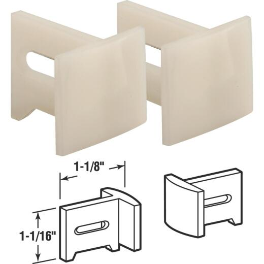 Prime-Line 1-1/8 In. x 1-1/16 In. White Plastic Side Adjustable Pocket Door Bottom Guide (2-Count)