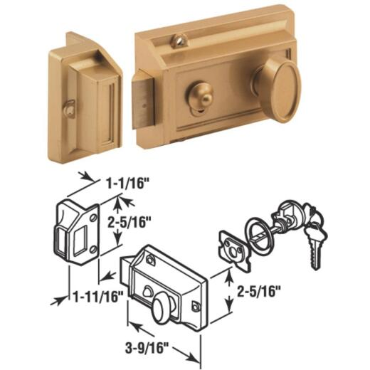 Defender Security Brass 3-Way Night Latch with Locking Single Cylinder