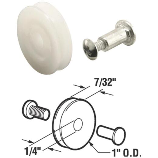 Prime-Line 1 In. x 7/32 In. Nylon Screen Door Roller Assembly with Axle & Bolt (2-Count)