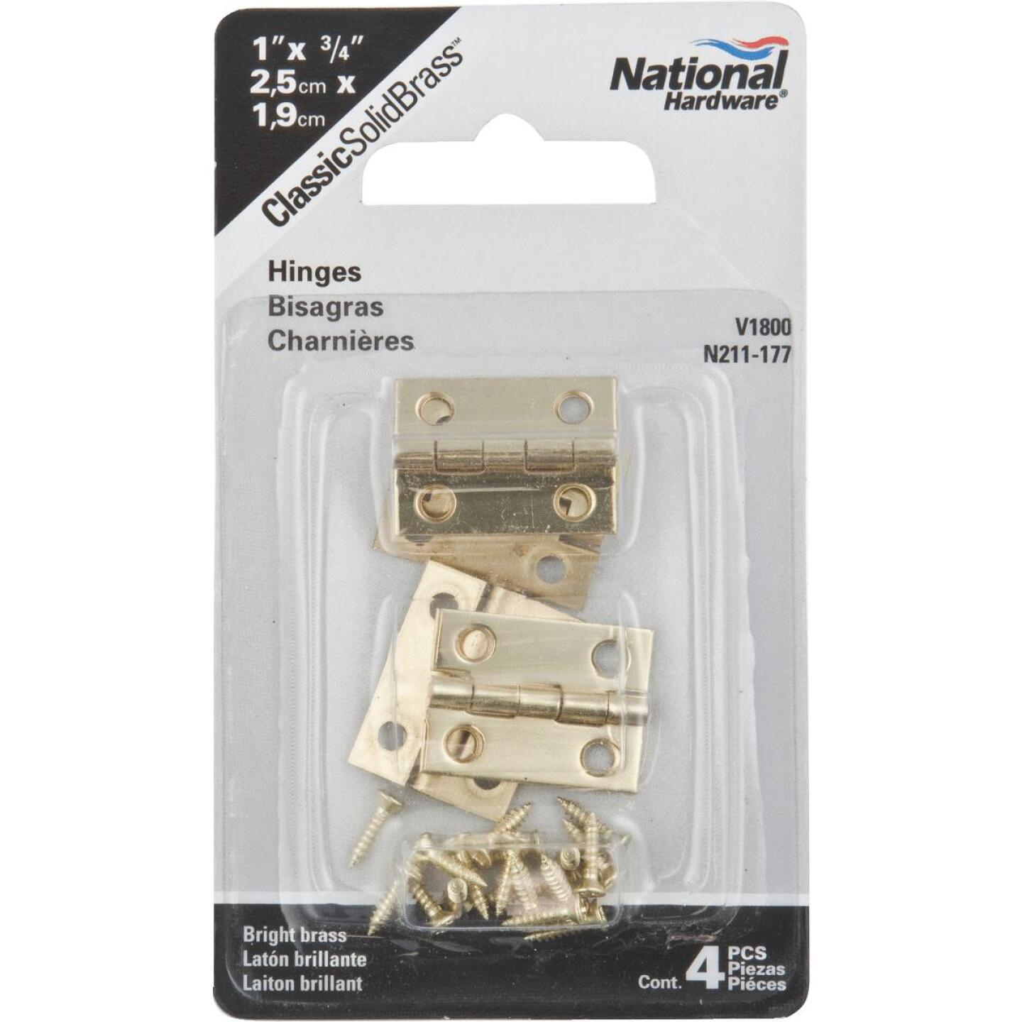 National 3/4 In. x 1 In. Narrow Brass Decorative Hinge (4-Pack) Image 2