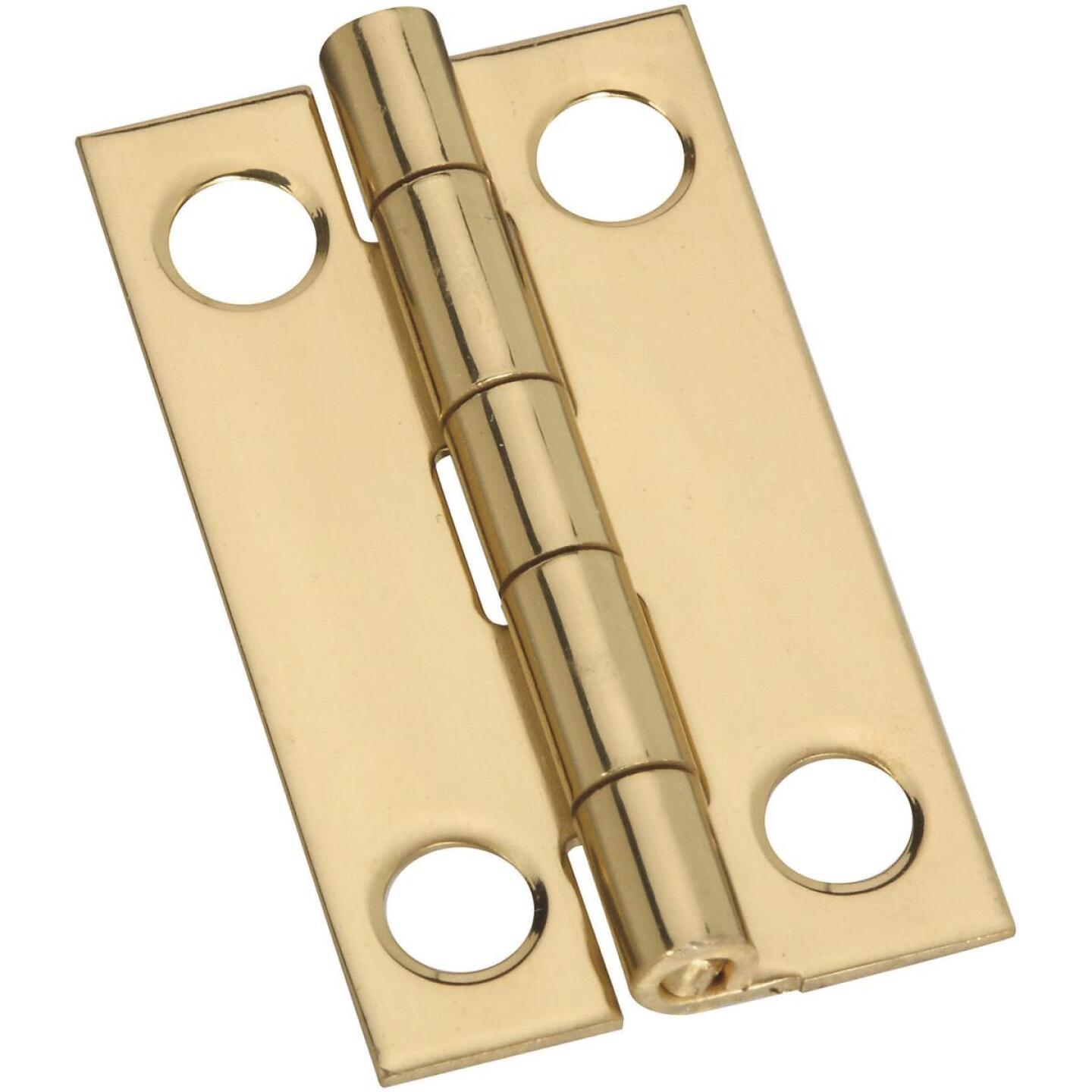 National 7/8 In. x 1-1/2 In. Brass Narrow Decorative Hinge (2-Pack) Image 1