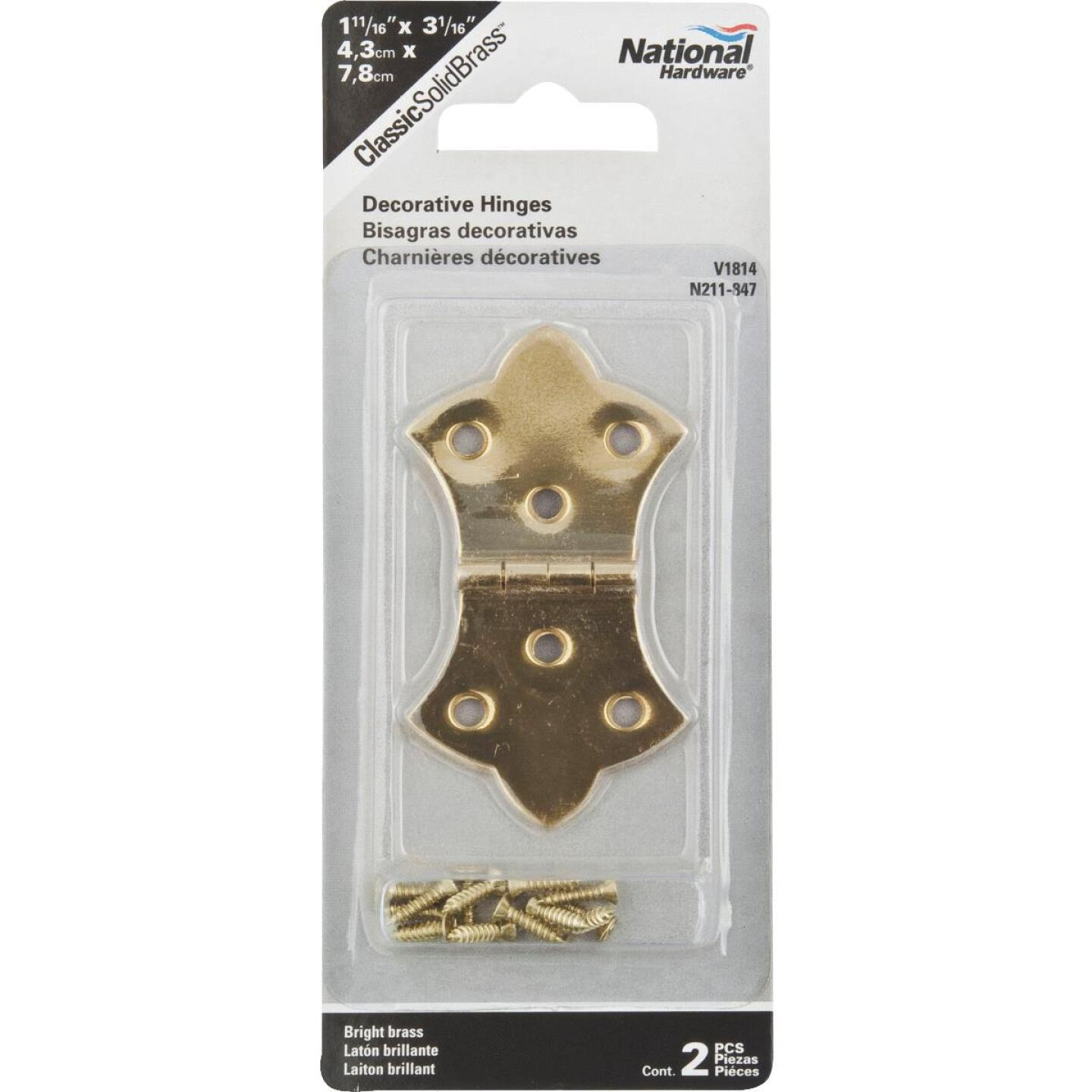 National 1-11/16 In. x 3-1/16 In. Miniature Brass Decorative Hinge (2-Pack) Image 2