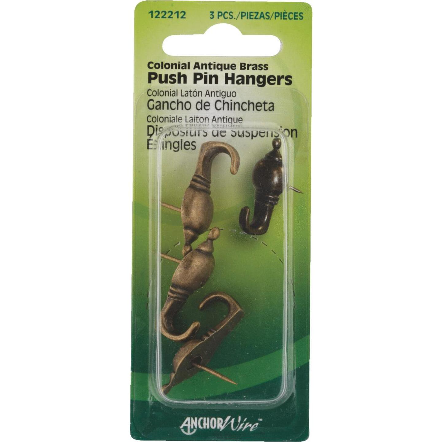 Hillman Anchor Wire Antique Brass Colonial Decorative Push Pin Hanger (3 Count) Image 1