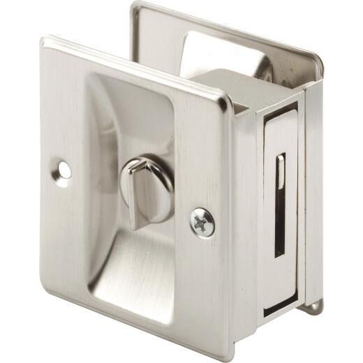 Prime-Line 2-3/4 In. Satin Nickel Pocket Door Privacy Lock