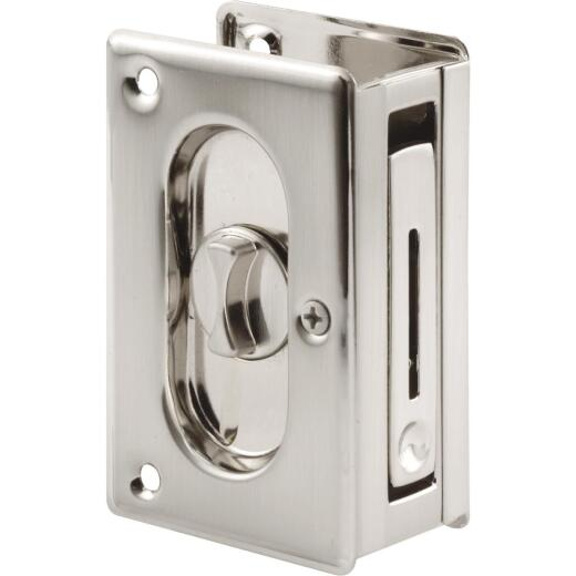 Prime-Line 3-3/4 Satin Nickel Pocket Door Privacy Lock