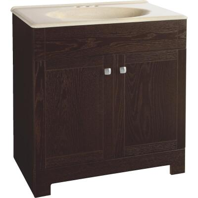 Continental Cabinets Sedona Java Oak 30-3/4 In. W x 32-3/4 In. H x 18-1/2 In. D Vanity with Solid Surface Technology Top