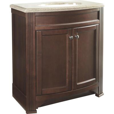 Continental Cabinets Duvall Cafe Black Glaze 30-3/4 In. W x 34-3/4 In. H x 18-1/2 In. D Vanity with Top