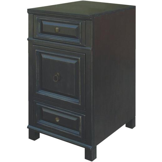 Sunny Wood Barton Hill 18 In. W x 34 In. H x 21 In. D Black Onyx Linen Cabinet Base