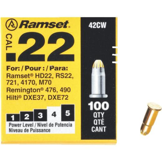 Ramset .22 Caliber Level 4 Yellow Powder Load (100 Pack)