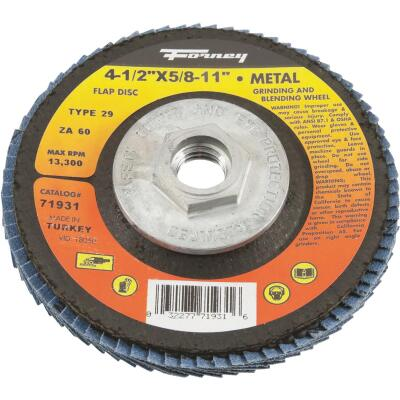 Forney 4-1/2 In. x 5/8 In.-11 60-Grit Type 29 Blue Zirconia Angle Grinder Flap Disc