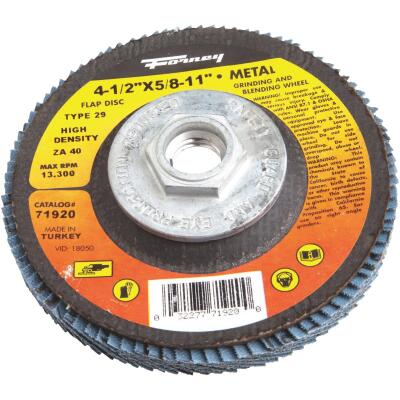 Forney 4-1/2 In. x 5/8 In.-11 40-Grit Type 29 High Density Blue Zirconia Angle Grinder Flap Disc
