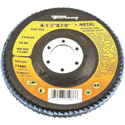 Forney 4-1/2 In. x 7/8 In. 60-Grit Type 29 Blue Zirconia Angle Grinder Flap Disc