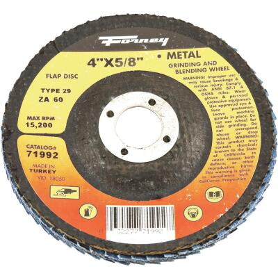 Forney 4 In. x 5/8 In. 60-Grit Type 29 Blue Zirconia Angle Grinder Flap Disc