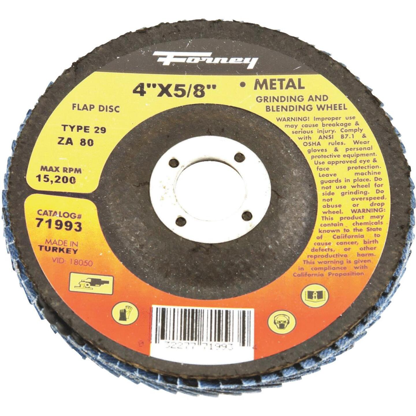 Forney 4 In. x 5/8 In. 80-Grit Type 29 Blue Zirconia Angle Grinder Flap Disc Image 1