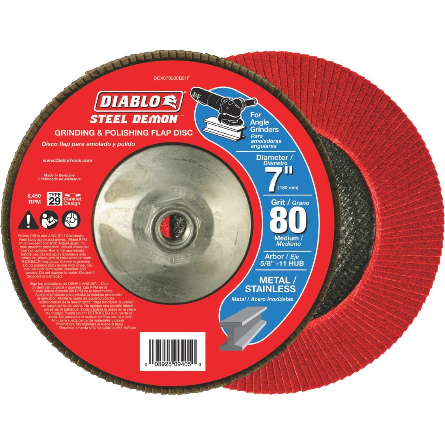 Diablo 7 In. x 5/8 In.-11 80-Grit Type 29 Steel Demon Angle Grinder Flap Disc with Hub Image 2