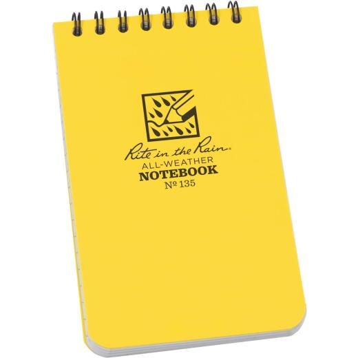 Rite in the Rain 3 In. W. x 5 In. H. Yellow 50-Sheet Top Spiral Bound All-Weather Memo Pad