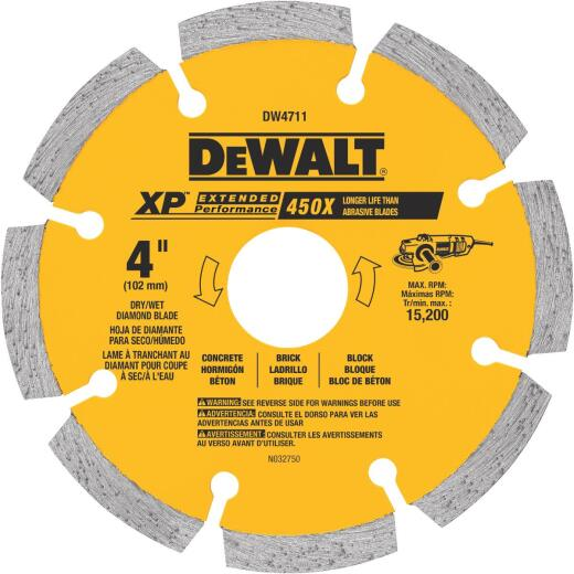 DeWalt Extended Performance 4 In. Segmented Rim Dry/Wet Cut Diamond Blade
