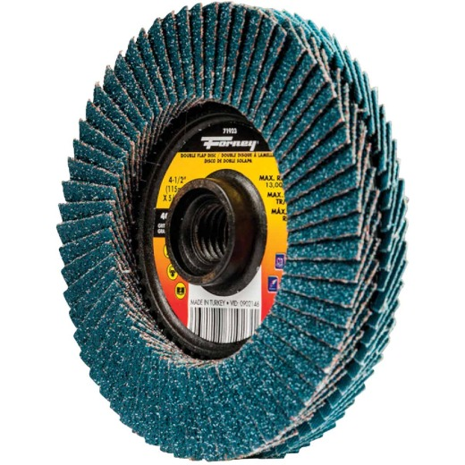 Forney 4-1/2 In. x 5/8 In.-11 Spin-On 40/80-Grit Type 29 Double-Sided Angle Grinder Flap Disc