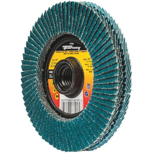 Forney 4-1/2 In. x 5/8 In.-11 Spin-On 60/120-Grit Type 29 Double-Sided Angle Grinder Flap Disc