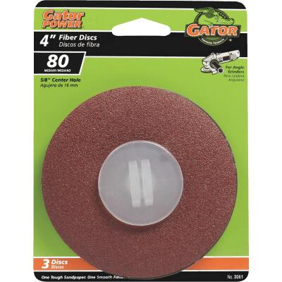 Gator 4 In. 80 Grit Fiber Disc (3-Pack)