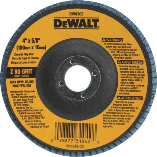 DeWalt 4 In. x 5/8 In. 80-Grit Type 27 High Performance Zirconia Angle Grinder Flap Disc