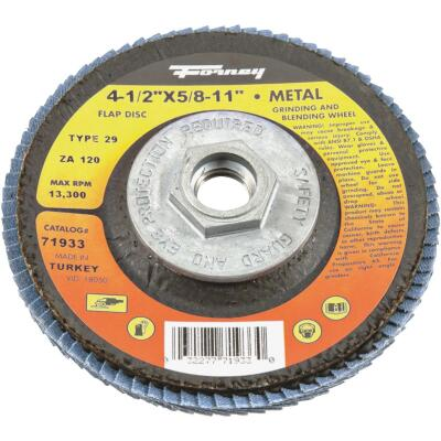Forney 4-1/2 In. x 5/8 In.-11 120-Grit Type 29 Blue Zirconia Angle Grinder Flap Disc