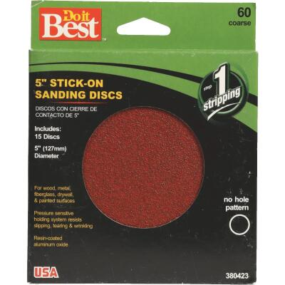Do it Best 5 In. 60 Grit Stick-On Sanding Disc (15-Grit)