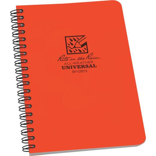 Rite in the Rain All-Weather 4-7/8 In. W x 7 In. H 32-Sheet Side Spiral Bound Notebook, Orange