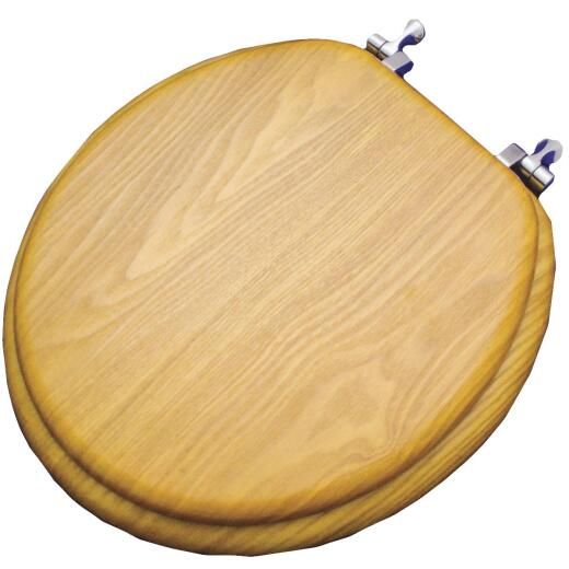 Home Impressions Round Closed Front Oak Veneer Toilet Seat