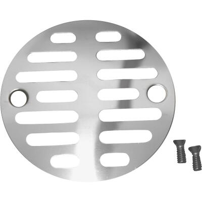 Lasco 3-1/2 In. Chrome Plated Grill Shower Drain Strainer