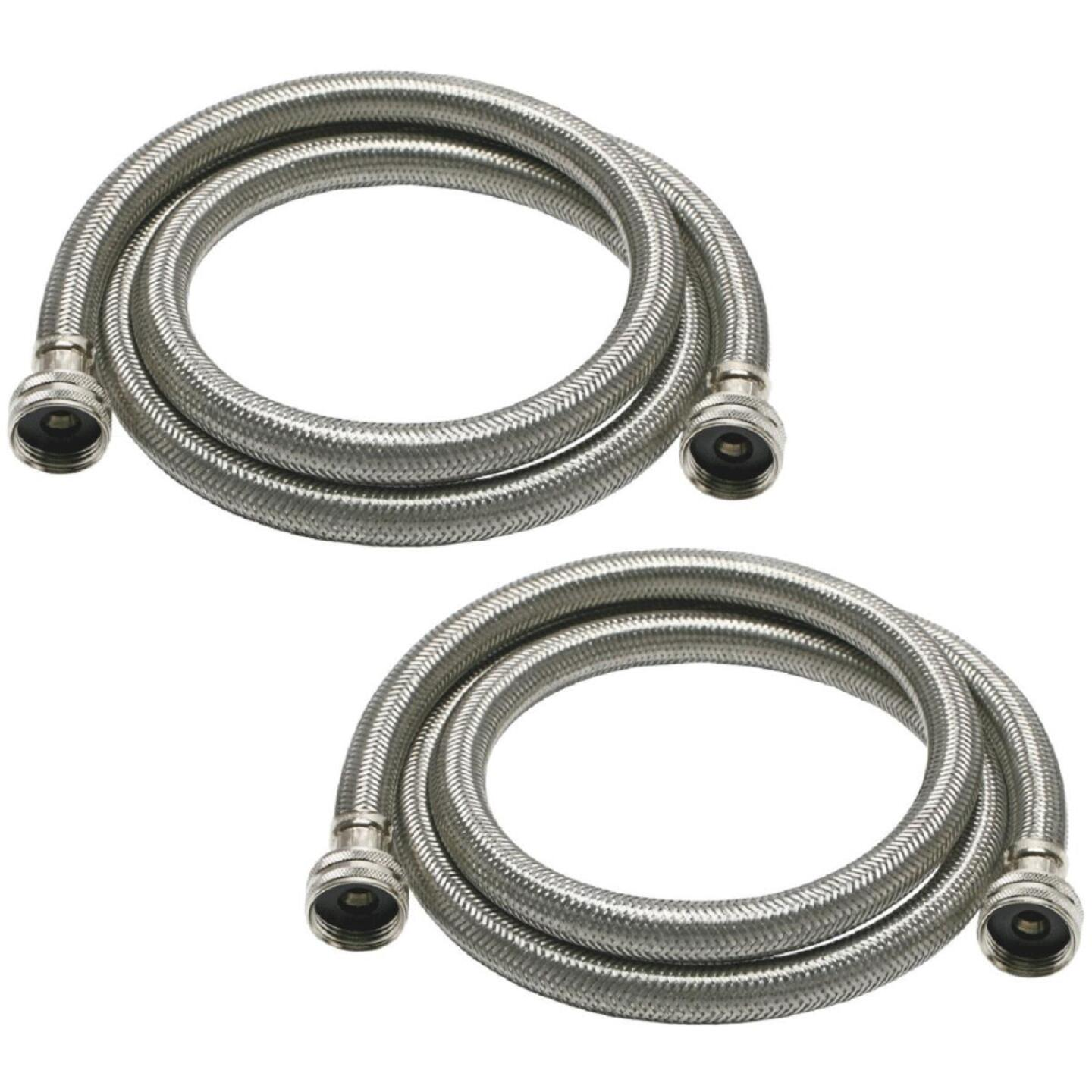 Fluidmaster 3/4 x 3/4 In. Hose Fitting x 60 In. L Braided Stainless Steel High Efficiency Washing Machine Hose(2-Pack) Image 2