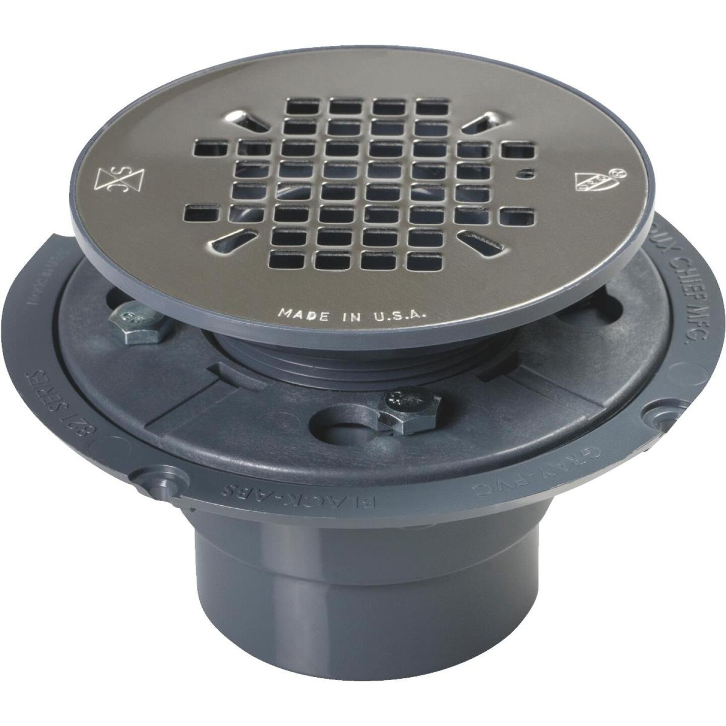 Sioux Chief 2 In. PVC Shower Drain with 4-1/4 In. Stainless Steel Snap-In Strainer Image 1