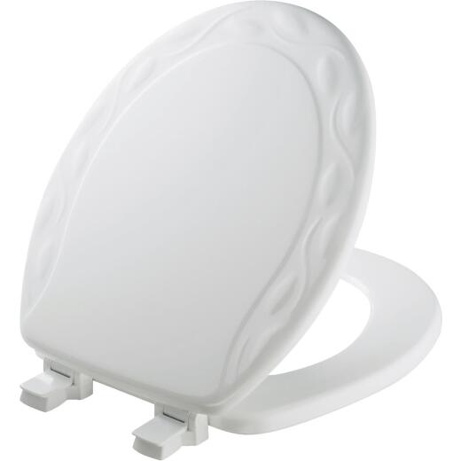 Mayfair Round Closed Front Designer Sculptured Ivy White Wood Toilet Seat