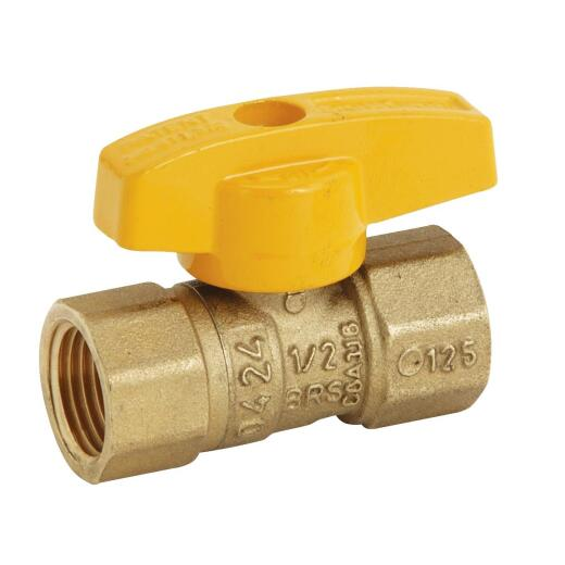BrassCraft 1/2 In. Brass Rating Gas Ball Valve, Femaile Pipe Thhreads
