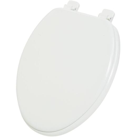 Home Impressions Elongated Closed Front White Wood Toilet Seat