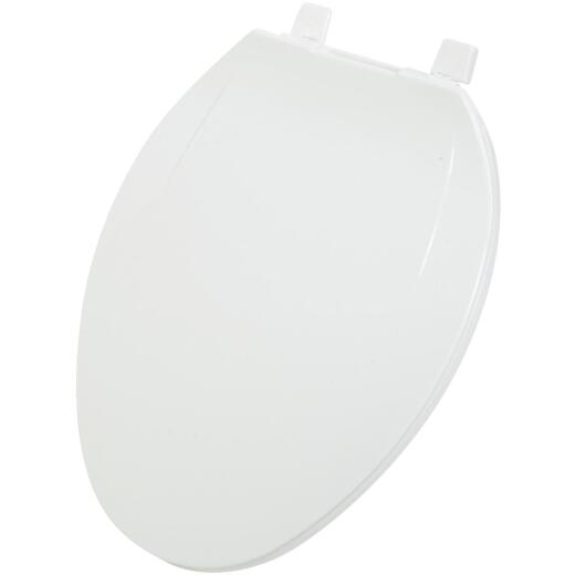 Home Impressions Elongated Closed Front White Plastic Toilet Seat