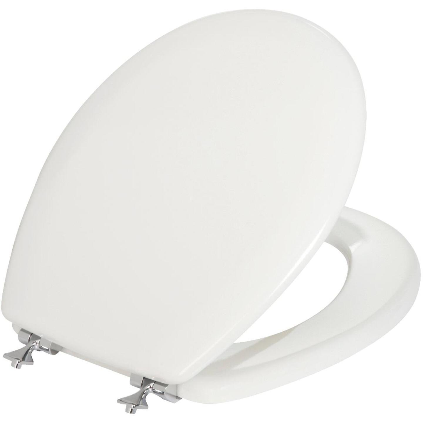 Mayfair Round Closed Front White Toilet Seat with Chrome Hinges Image 1