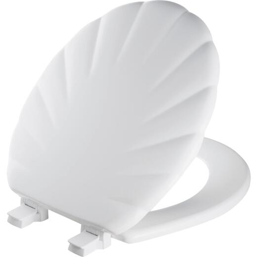 Mayfair Round Closed Front Designer Sculptured Shell White Wood Toilet Seat
