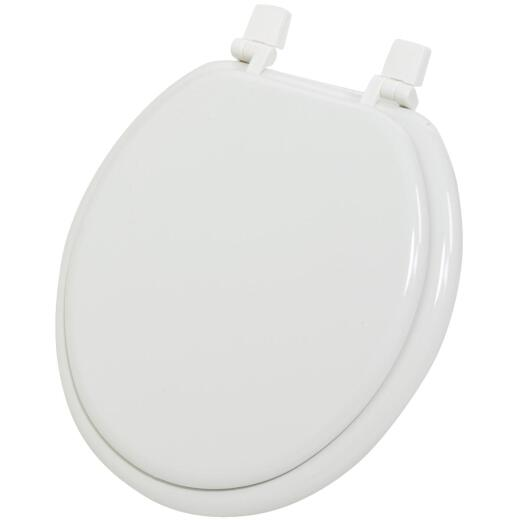 Home Impressions Round Closed Front White Wood Toilet Seat