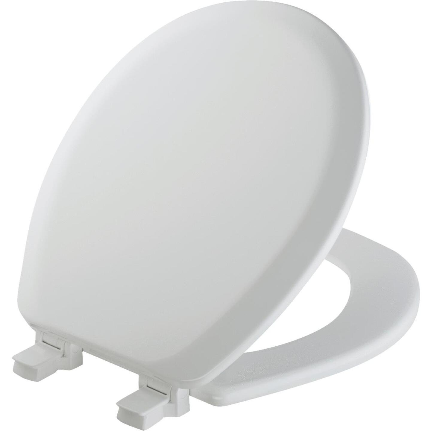Mayfair Advantage Round Closed Front White Wood Toilet Seat Image 1