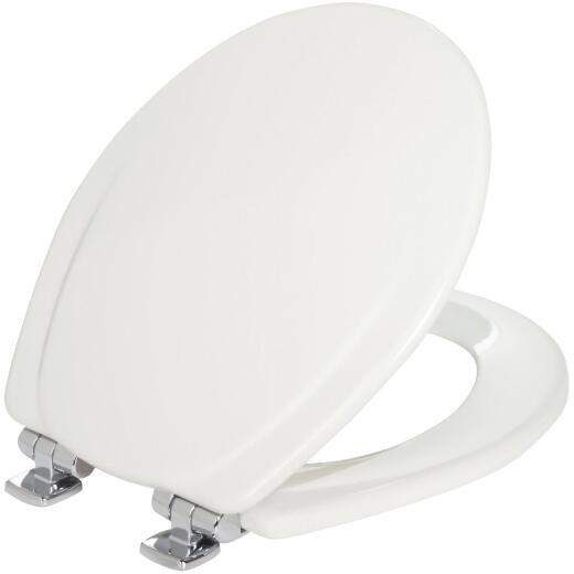 Mayfair Sta-Tite Round Slow Close White Wood Toilet Seat