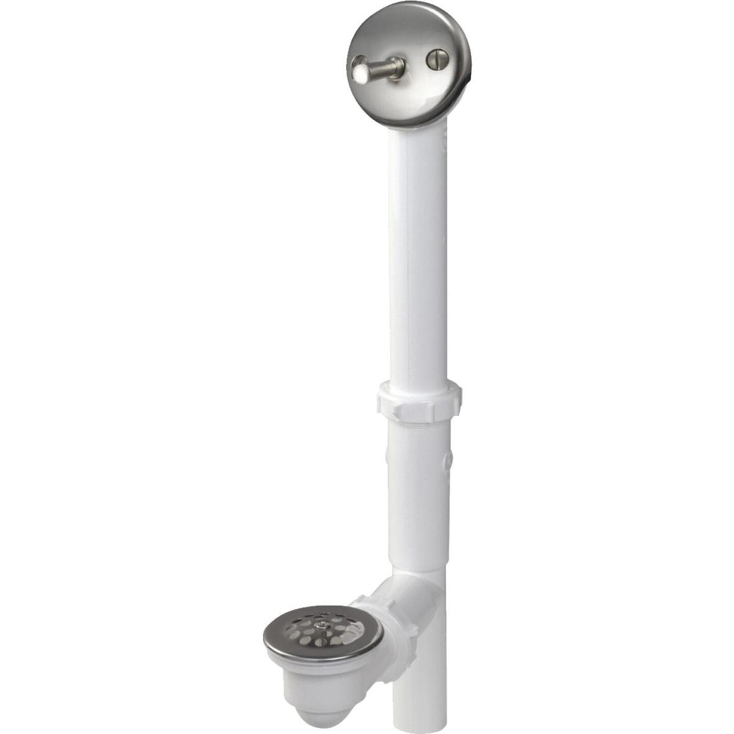 Do it White Plastic Trip Lever Bath Drain with Brushed Nickel Trim and Strainer & Dome Grid Image 1