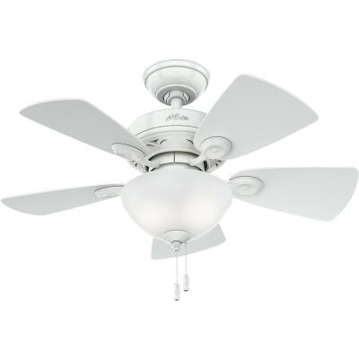 Hunter Watson 34 In. Snow White Ceiling Fan with Light Kit