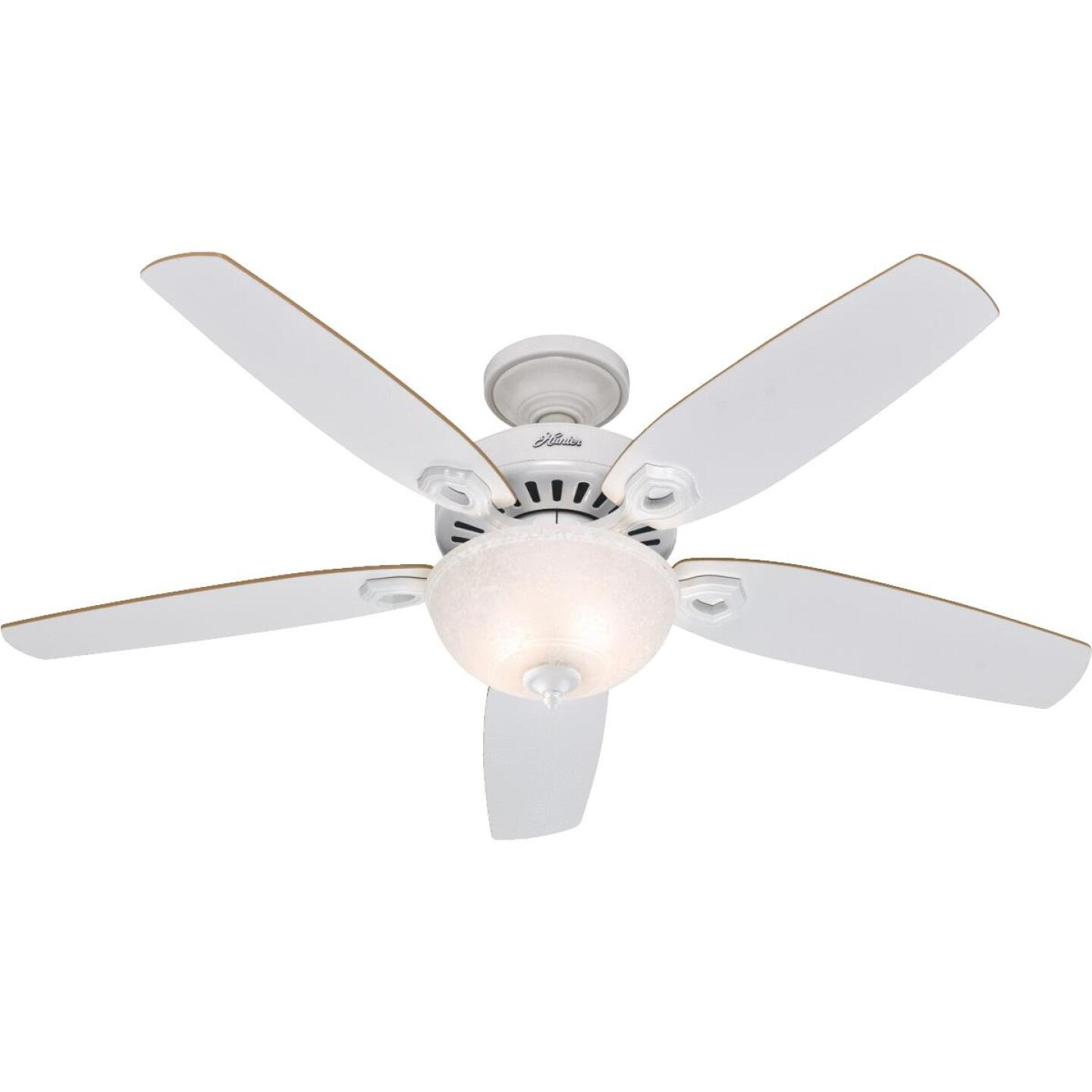 Hunter Builder Deluxe 52 In. White Ceiling Fan with Light Kit Image 1