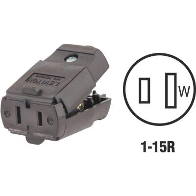 Leviton 15A 125V 2-Wire 2-Pole Hinged Cord Connector, Brown