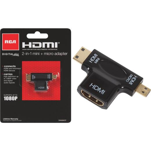 RCA 2-In-1 HDMI Female to HDMI Mini/Micro HDMI Adapter