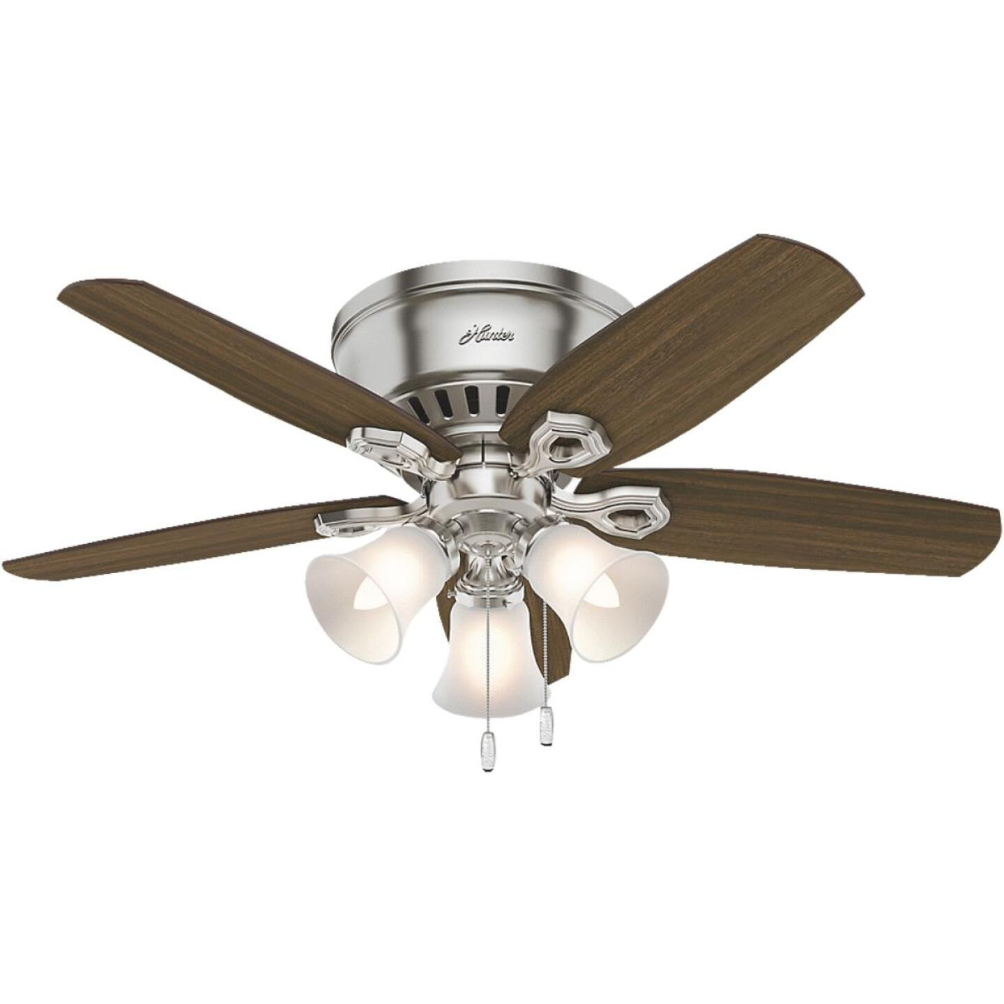 Hunter Builder Low Profile 42 In. Brushed Nickel Ceiling Fan with Light Kit Image 1